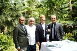 Taste: HB Ullrich (Kronenschlösschen Rheingau), Alfred Friedrich (Lafleur Palmengarten), Wilhelm Weil (Weingut Rheingau), Robert Mangold (Palmengarten-Gastronomie) v.l.n.r.